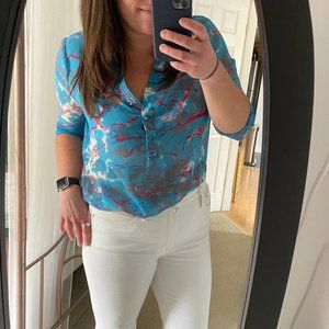 Rory Beca / Forever 21 Watercolor Popover Top Sz L